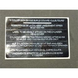 étiquette de couvre culasse