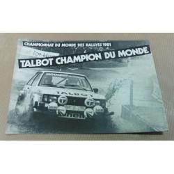 carte postale Talbot champion du monde 1981