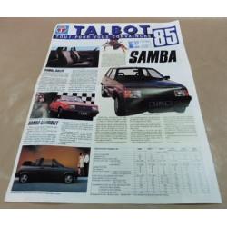 catalogue de présentation Talbot gamme 1985
