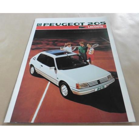 catalogue de présentation 205 Lacoste 1986