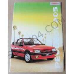 catalogue de présentation 205 Cabriolet 1989