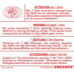 étiquette vidange d'huile moteur Indénor