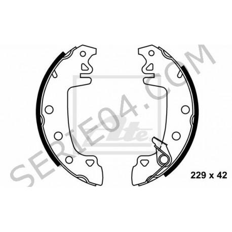 Kit of 4 rear brake shoes